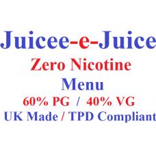 Juicee-e-Juice Zero Nic Menu